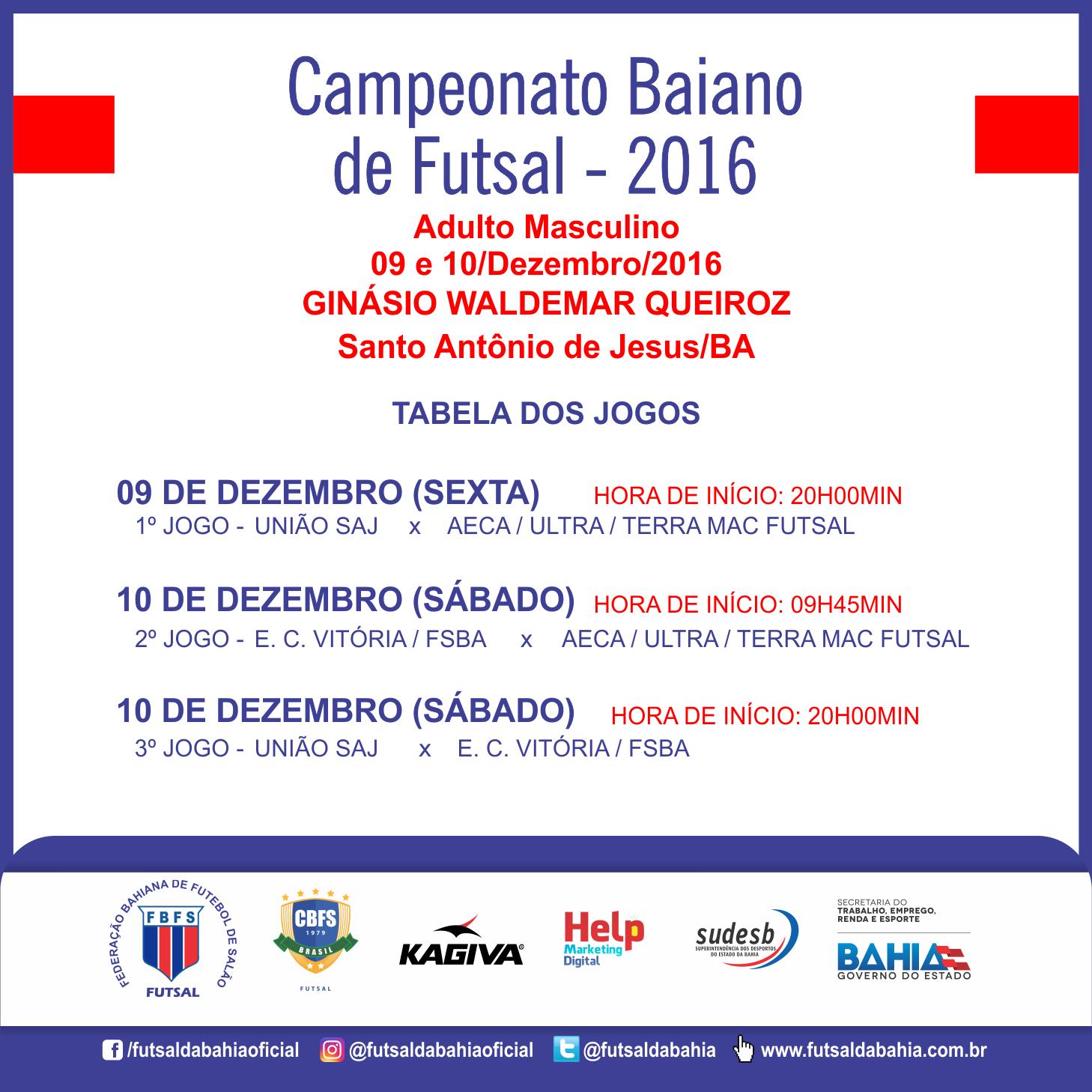 Tabela de Jogos - Campeonato Baiano 2016 - Adulto Masculino