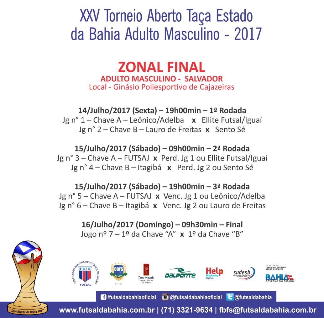 Programação Final Zonais - Taça Estado da Bahia - Final